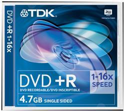 DVD +R TDK REGISTRABILE SINGOLA FACCIA 16X 4,7G