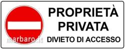 TARGA ALLUMINIO 35X12,5 PROPRIETA' PRIVATA DIVIETO DI ACCESSO