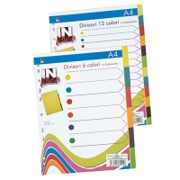 INTERCALARE 12 TASTI COLOR A4 IN-LINEA CARTONCINO