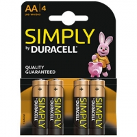 PILE DURACELL STILO 1,5V BLOCCO 4 AA SIMPLY