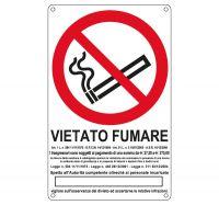 CARTELLO ALLUMINIO 27X43 VIETATO FUMARE CON LEGGE E SANZIONE