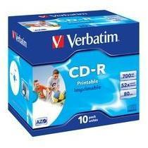 CD-R VERBATIM JEWEL 52X 700MB PRINT CF10