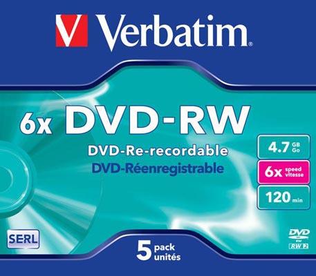 DVD+RW VERBATIM SLIM 4X CF.5