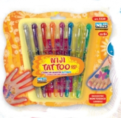 PENNA GEL NIJI INK GLITTERATO TATOO PEN ART.5320 BLISTER 8