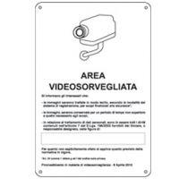 CARTELLO ALLUMINIO 20X30 AREA VIDEOSORV. CON REGISTRAZIONE (UE 2016/679)