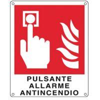 CARTELLO ALLUMINIO 25X31 PULSANTE ALLARME ANTINCENDIO