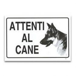 TARGA ALLUMINIO 20X30 ATTENTI AL CANE