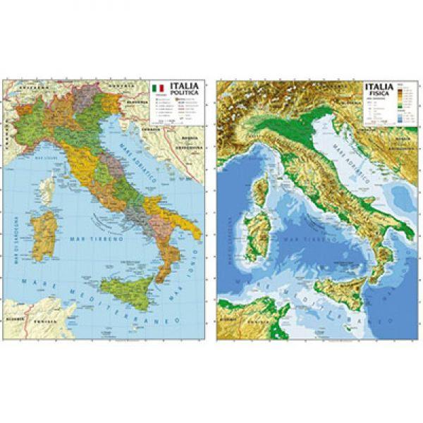 Cartina Italia Fisica Politica.45766237 Cartina Geografica 100x140 Italia Bifacciale Fisica Politica