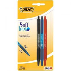 PENNA SFERA BIC SOFT FEEL CLIC GRIP COL. 837394 BLISTER 3