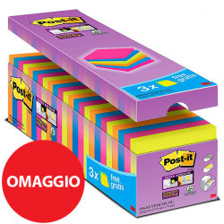 BLOCCO 3M POST-IT 76X76 654 STICKY COLORI VARI CF.21+3 OMAGGIO