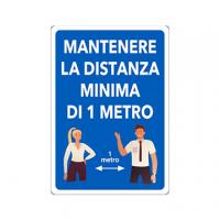 CARTELLO ALLUMINIO 30X20 MANTENERE LA DISTANZA 1MT